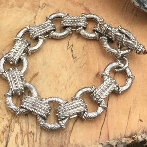 """Judith Ripka Silver Toggle Bracelet 7 1/2"""" Citrine"""